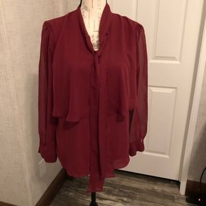 Cato brick red layer neck tie sheer long sleeve M